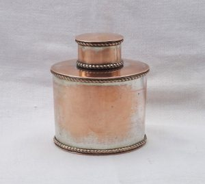 Antique tea caddy, small oval Georgian tea caddy, copper with some silver plate. Kitchenalia, kitchen canister, kitchen storage container
