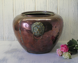 Rare Arts & Crafts Hilton Ware copper jardiniere - John Marston copper planter - brass lion head handles - large Edwardian copper plant pot