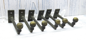 Art Deco brass coat hooks x 6. Vintage clothes pegs. 1930's coat hooks.