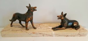 Art Deco dogs bronze style sculpture on marble plinth 1930's Malinois