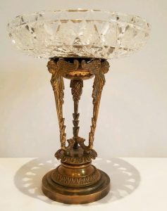 French gilt bronze comport, cut glass pedestal tazza, 19th Century ormolu comport,