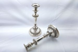 "Georgian pair of silver plated candlesticks 11"", Old Sheffield Plate candlesticks"