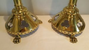 Victorian Church pricket candlesticks, brass pair Medieval Gothic Ecclesiastical