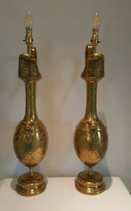 Art Nouveau brass ewer lamps pair, large Edwardian brass lights Aesthetic period