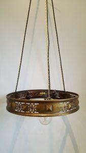 Antique brass chandelier, 3 light ceiling pendant with pierced strapwork design