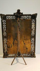 Victorian gilt brass table mirror bevelled glass, cherubs griffons ormolu Gothic