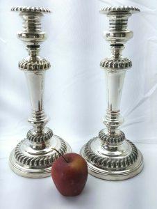 "Georgian pair of silver plated candlesticks 11"", Old Sheffield Plate candlesticks"