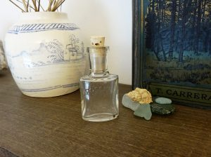 Antique perfume bottle ~ Grossmith London ~ small clear glass perfume bottle ~ high end English perfumers ~ small bottle with cork ~ 1900's