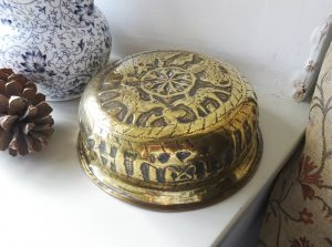 Antique Egyptian brass bowl, Cairoware repoussé engraved brass pot, plant stand with pyramids, Arab script, Sphinx, animals, palm trees