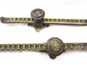 Antique window casement sliding stays, solid brass catches, sliding pivoting pair each have 25 locking positions, salvage, period home decor