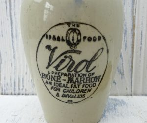 Antique Virol jar, salt glazed stoneware jar, 14cm tall, Preparation of Bone-Marrow, An Ideal Fat Food for Children & Invalids, utensil pot