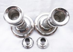 Antique silver plated telescopic candlesticks - pair of Old Sheffield Plate candlesticks - early 19th century extendable candle holders