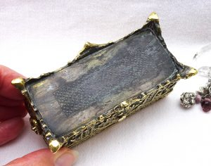 Antique ornate small brass casket, jewellery box, treasure chest, heavy trinket box, match holder, wedding gift, clasp, ring handles at side