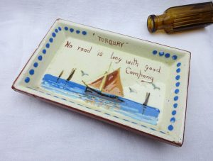Vintage Watcombe Torquay motto ware pin dish, yacht seascape design, No Road is Long with Good Company, Devon ware pottery trinket dish