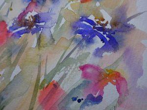 Watercolour painting THE JEWEL GARDEN original art by artist Amanda Hawkins 23 x 32 cm unframed, unmounted. Summer floral art, botanical art