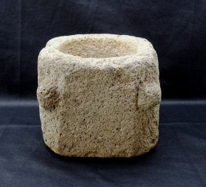 """Late medieval stone mortar ~ 7"""" square heavy volcanic rock mortar with four protuberant lugs on chamfered corners ~ Treviles Manor, Cornwall"""