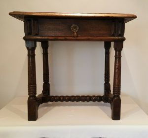 17th century oak side table with drawer Charles II or James II gun barrel bobbin