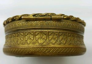 French ormolu gilt bronze box with painted miniature