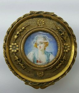 French ormolu box painted miniature, gilt bronze trinket, velvet lined jewellery