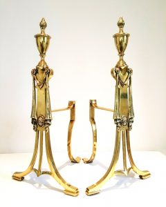 Antique William Tonks & Sons brass fire dogs, c 1906. Pair Adam style andirons