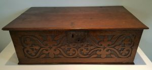 17th century carved oak bible box, table / deed box antique strap-work