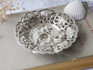 Vintage solid silver filigree pin dish ~ Rococo style continental silver ring dish ~ coin dish ~ 800 silver ~ wedding gift anniversary gift