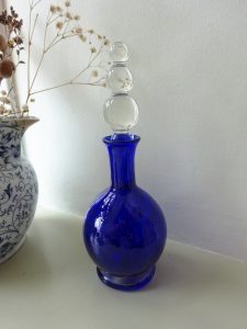 Vintage cobalt blue glass perfume bottle with a clear glass stopper. Possibly Italian Murano glass Scent bottle, wedding gift, bedroom decor