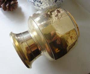 Antique Indian brass lota kalash, faceted Hindu pooja, puja water vessel, lead base, Ganga water vessel, Ganges Chambu lota, flower vase