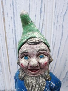 Vintage pair of garden gnomes, need a kind and loving home! Garden ornaments, inseparable shabby and rustic painted small plaster gnomes