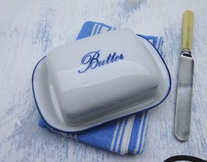 Vintage ceramic butter dish, white with blue rim and lettering. Pottery butter dish, kitchenalia, dining table decor, wedding gift idea