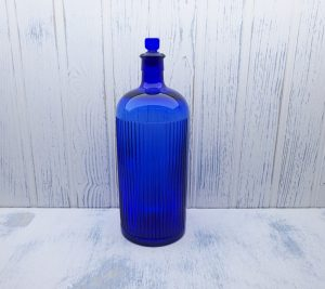Antique cobalt blue 80 oz poison bottle, huge ribbed circular chemist poison bottle with original glass stopper, druggist, pharmacy bottle