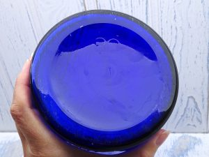 Antique cobalt blue 80 oz poison bottle, huge ribbed circular chemist poison bottle with original glass stopper, druggist, pharmacy bottle
