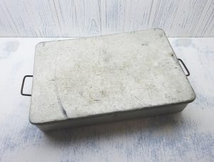 Vintage aluminium catering tin by Grundy, Teddington. 1950's industrial canteen tray with lid, food service, scouts camping food storage box