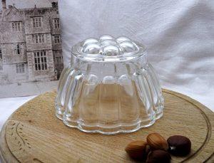 Vintage round glass jelly mould, 1 pint jello mold, blancmange mould