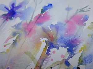 Watercolour painting FLOWER SPRAY original art by artist Amanda Hawkins 20 x 30 cm unframed, unmounted. Summer floral art, botanical art