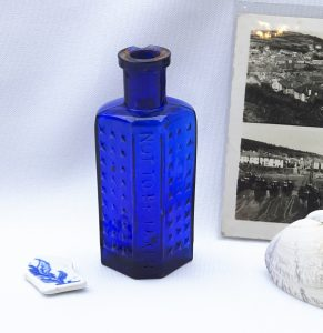 Victorian cobalt Not To Be Taken poison bottle, Practical Poison Bottle, flat back irregular hexagon, hobnails, no 334871, Morgan's Type 2