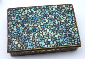 Antique mosaic and brass trinket box, small 19th century turquoise coloured jewellery box, snuff box, ring box, dressing table vanity box