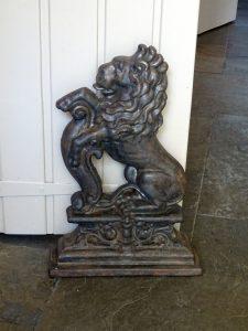 Victorian cast iron doorstop, heraldic rampant lion, possibly St Blazey Foundry Cornwall.