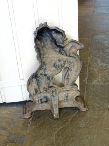 Victorian cast iron doorstop, heraldic rampant lion, possibly St Blazey Foundry Cornwall.