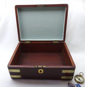 Antique mahogany campaign box, early Victorian, brass bound, inset brass handle, jewellery box, writing box, gentlemen's box, vanity box