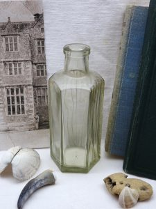 Antique clear hexagonal Not To Be Taken poison bottle, rare 5 oz ribbed clear NTBT bottle, early 20th century apothecary, chemist bottle