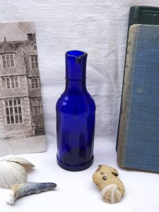 Victorian faceted cobalt blue bulk ink bottle with pouring lip, rare, faceted sides. Bulk ink bottle with spout. Scarce antique cobalt ink.