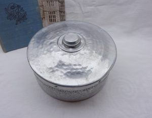 Vintage aluminium biscuit tin, hammered aluminium cake tin, NCJ Ltd, Stratford-on-Avon. Kitchenalia, retro kitchen storage, industrial decor