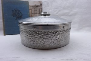 Vintage aluminium biscuit tin, hammered aluminium cake tin, NCJ Ltd, Stratford-on-Avon. Kitchenalia, retro kitchen storage, industrial decor