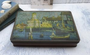 Vintage Jacob's biscuit tin, harbour scene, W & R Jacob and Co, hinged lid, old tin, kitchenalia, craft box, sewing box, art materials box