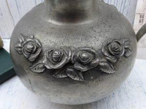 Vintage German pewter pitcher SKS Zinn, embossed roses, pewter jug, pewter vase, made in Germany, pewter ewer, floristry, flower arranging