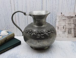 Vintage German pewter pitcher SKS Zinn, embossed roses, pewter jug, pewter vase, made in Germany, pewter ewer, floristry, flower arranging