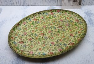 Vintage papier mache tray, Japanese floral print paper mache oval tray, 1940s Alfred E Knobler style, marked on base Alcohol Proof, Foreign.