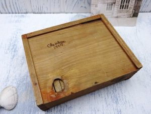 Antique children's wooden building bricks and blocks in a box, 1920's small wooden toy bricks in wooden box with sliding lid, vintage toys