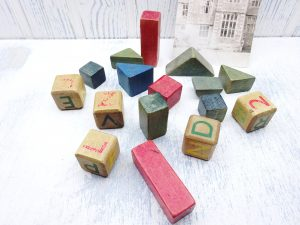 Vintage children's wooden building bricks and blocks, early to mid 20th century toy, nursery decor, film prop, kid's toy, letter bricks